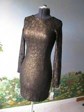 2B Rych Lace sequin Brown Bronze Cocktail Short Dress Size 8 NWT