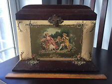 Antique Victorian celluloid Woodworking Box Joint Vanity Box