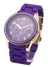 Purple Designer Rose Gold Fashion Ladies Women Crystal Luxury Steel Wrist Watch
