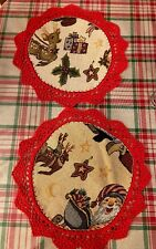 Christmas Crochet Doily Red Santa Reindeer Holly Sleigh Star Placemat Table S/2