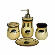 Bear Woodland Country Home Cabin Pottery 4 Piece Bathroom Vanity Set