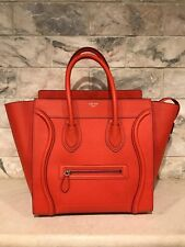 NWT Celine Mini Luggage Vermillion Orange Drummed Leather Top Handle Tote Bag