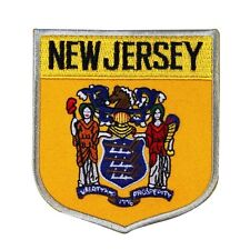 """State Flag Shield """"New Jersey"""" Iron-On Badge Patch Travel Souvenir DIY Applique"""