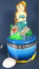 Mermaid on a Rock Ceramic Trinket Box Fantasy Figurine