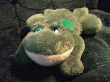 "Russ 11"" Frog Green plush with 3 large green dots on his back yellow chin"