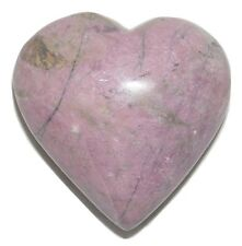 Gorgeous Natural Pink Rhodonite Semiprecious Mineral Handcarved Heart - 5.5 oz