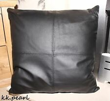 "Double Sided Cushion Cover Made In 100% Real Black Leather 18"" Sofa CHair"