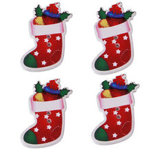 50pcs Christmas Stocking Sock Wooden Flatback Buttons Sewing Scrapbooking Lots D