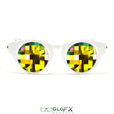 GloFX White Cat Eye Kaleidoscope Glasses – Rainbow Bug Eye Less Intense Effect