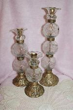 Set of 3 Kirkland's Stores Glass & Gold Finish Metal Taper Candle Holders
