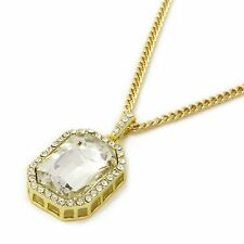 """Mens 14k Gold Plated Iced Out Clear Octagon Ruby Pendant w/ 3mm 24"""" Cuban Chain"""