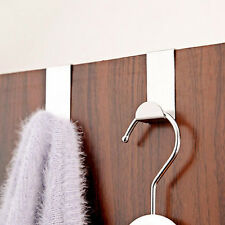 4 X Stainless Steel Metal Over Door Hooks for Clothes Coat Robe Hanger Hanging