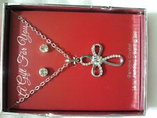 "GENUINE CRYSTAL 18 1/2"" CROSS PENDANT & ROUND EARING SET WITH GIFT BOX"