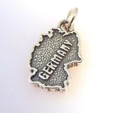 .925 Sterling Silver GERMANY COUNTRY MAP CHARM NEW Pendant Europe German TR43