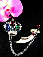 GORGEOUS STERLING SILVER ROYAL CROWN SCIMITAR SWORD CHATELAINE CHAIN BROOCHES