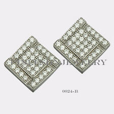 Sterling Silver 925 Square Stud Screwback Earrings with Clear CZ (7.5mm) #0024B