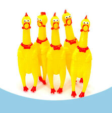 1 x Screaming Rubber Yellow Chicken Pet Dog Toy Squeak Squeaker Chew Gift Cute