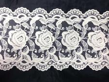 "1 Y ivory Cotton Venice Double Scalloped Lace Trim Rose Design 5 1/2"" US SHIPPER"