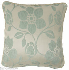 """CHENILLE DUCK EGG BLUE THICK FLORAL LEAF LEAVES CUSHION COVER 18"""" - 45CM #ECEC"""