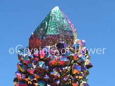 1 RARE STARBRARY TITANIUM RAINBOW FLAME AURA SPIRIT CACTUS QUARTZ CRYSTAL POINT!