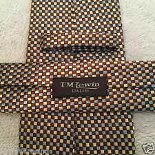 T.M.LEWIN SILK 9.5cm MENS BROWN BLUE TAUPE WOVEN CHECK DESIGNER SILK TIE SALE