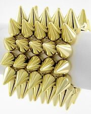 "NEW Gold Tone Spike Design Stretch Bracelet - 2 3/8""  Wide"