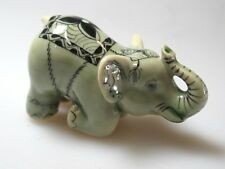 Feng Shui Miniature Collectible Porcelain Ceramic Lucky Siam ELEPHANT Figurine