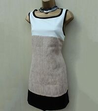Karen Millen DS127 Ivory Beige Block Uptown Tweed Shift Mini Tunic Dress 14 UK