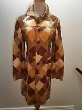 CHROME HEARTS Yellow Brown Leather Retro Patchwork Jacket Coat!