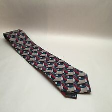"Oscar De La Renta Men's Tie Blue Red Geometric 100% Silk 58"" Long 4"" Wide Z2"