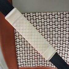 2x Car Safety Belt Covers Leather Seat Belt Shoulder Pad Adjust Beige