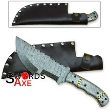 The Hunted Tracker Sweeper Damascus Forged Knife Hatchet 1095 HC Steel 12 Inches