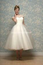 UK 50s 60s vintage lace short wedding dress cap sleeve knee tea any length cut