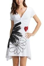DESIGUAL IREYA DRESS S-XXL RRP£74 WHITE / BLACK JERSEY LARGE FLOWER MONOCHROME