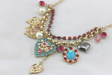 N472 Betsey Johnson Gem Madame Butterfly Hearts Gem Chain Necklace AU