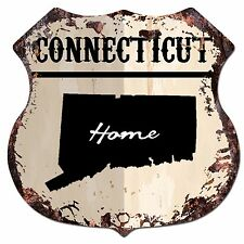 BP0123 HOME CONNECTICUT MAP Shield Rustic Chic Sign Bar Shop Home Decor Gift
