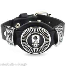 Anime Death Note L Lawliet Skull Bracelet PU Leather Wristband Cosplay Bangle
