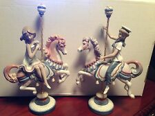 Lladro Porcelain Boy and Girl on Carousel Horse (#1469 Boy & #1470 Girl) w/Boxes