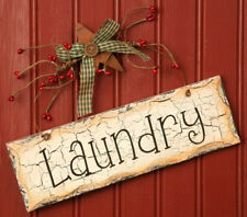 Country Primitive LAUNDRY Sign with Pip Berries, Star, Button, & Homespun Ribbon