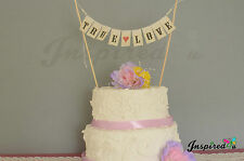 True Love Wedding Cake Topper Mini Bunting Banner Topping Shabby Chic Vintage
