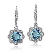 Silver Tone Aqua & Clear Swarovski Elements Halo Dangle Flower Leverback Earring