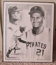 VINTAGE ROBERTO CLEMENTE PITTSBURGH PIRATES NUMBERED FRAMED PRINT RARE