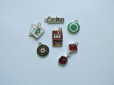 12 Enamel CASINO CHARMS dice cards chips casino sign slot machine FREE S/H