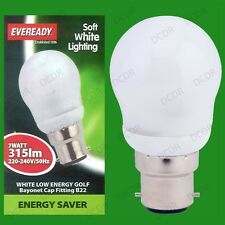 7W Low Energy CFL Round Golf 3500K Cool White Light Bulb BC, B22 Bayonet Lamp