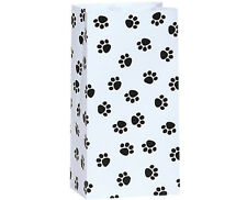 250 White Paw Print paper gift bags food packaging quality wholesale bulk 5x3x9