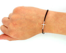 Sterling silver 925 Sideways Cross Bracelet sideways cross with leather band(B3)