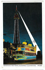 Hovertram & Tower,Blackpool PPC 1963 Illuminations Pictorial PMK to Plymouth
