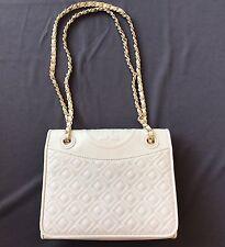 Tory Burch Medium Fleming Ivory Saffiano Leather Shoulder Bag $475 Used TWICE