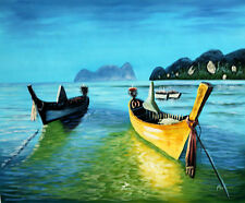 Hand Painted Oil Painting on Canvas Seascape Boats on the Sea Blue Landscape