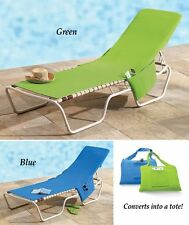 Beach Lounge Chair Cover Towel With Fitted Pocket Top and Side, Lime Green